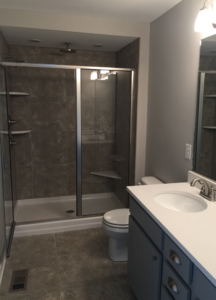 walk in shower in remodeled bathroom